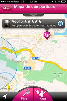 Mapa de Taxis Compartidos en Donostia